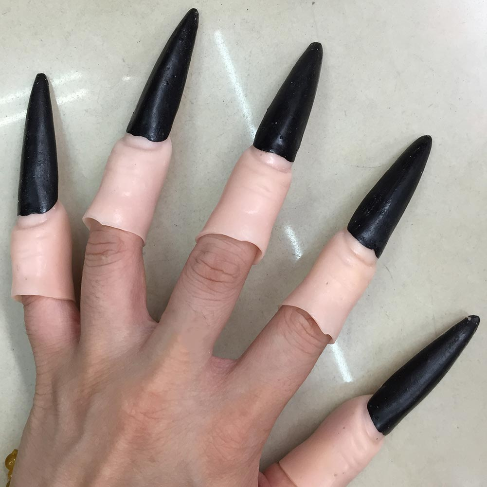 10 Pcs/Set Zombie Witch Fake Fingers Nails Cover PVC Ghost Nail Kit ...