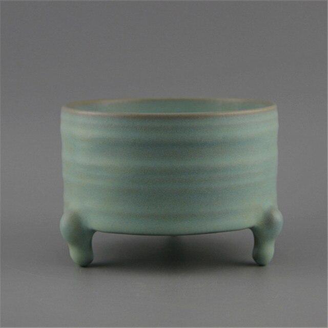Collectie Chinese Oude Porselein De Song-dynastie Ru Azuurblauwe Glazuur Drie Been Wierookbrander Wierookvat