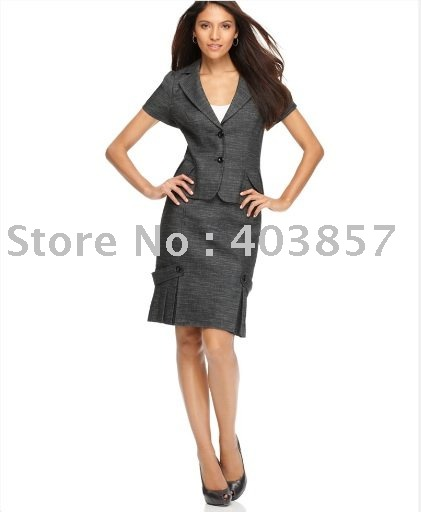 Gray Women Business Suit Short Sleeve Pleated Hem Blazer & Pleated Button Pencil Skirt Notched Collar Two Button 626