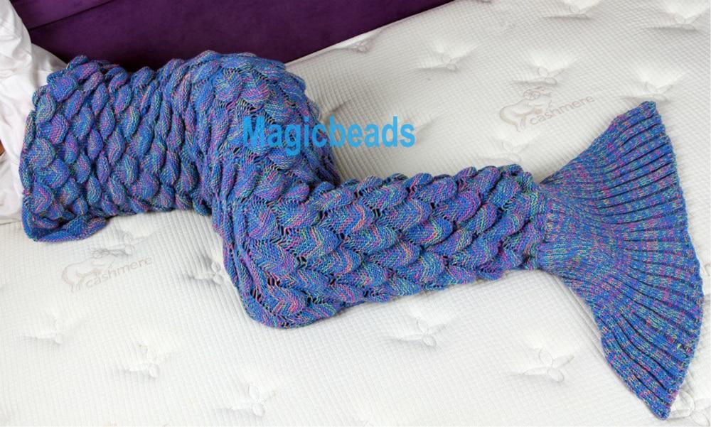 Tessuto Mermaid Tail Divano Coperta Adulto Super Soft Fatto A Mano All'uncinetto Maglia di Lana Filato Tinto Sacchi A Pelo lancio Bed Wrap 180 cm
