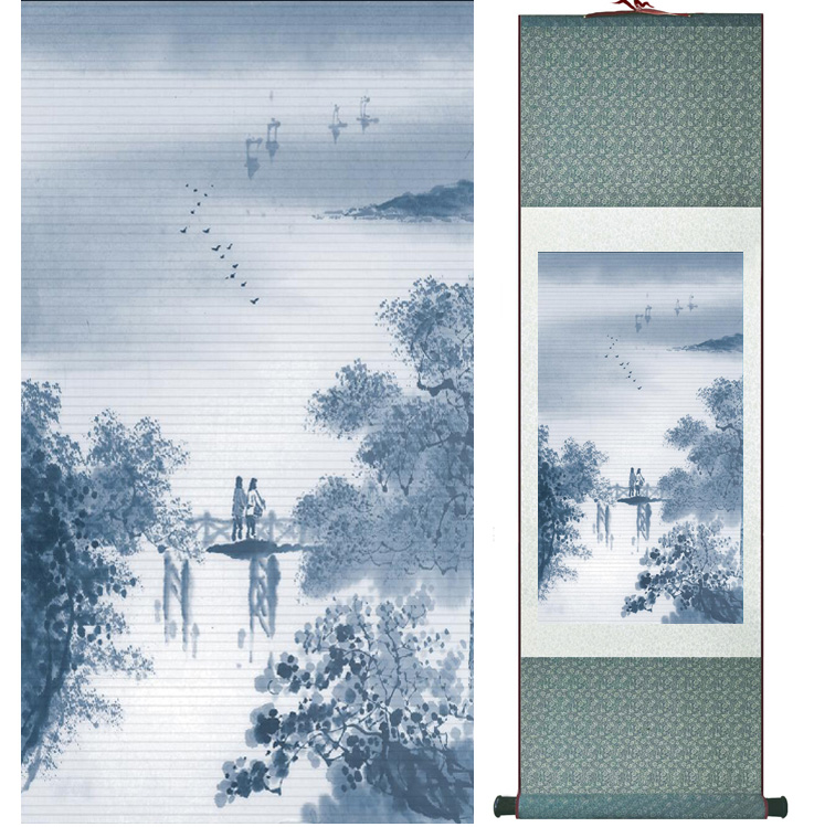 landscape painting Home Office Decoration Chinese scroll painting mountain and River paintingPrinted painting042301