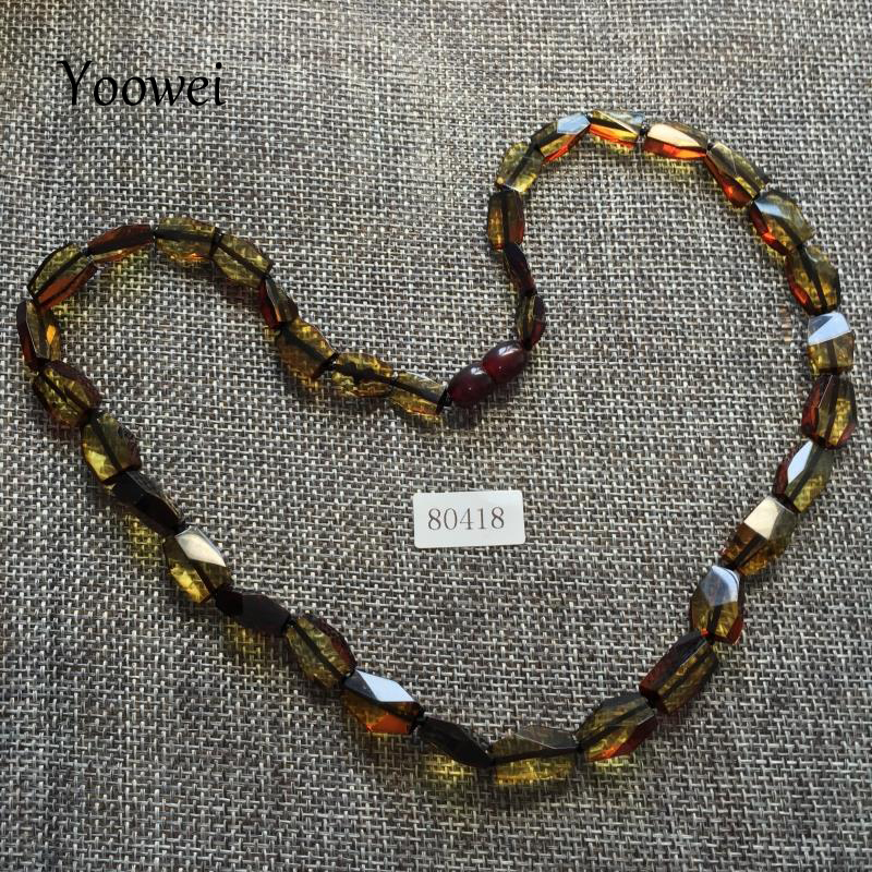 Yoowei Natural Green Amber Necklace for Women Genuine Original Beads Healing Adult Gift 100% Real Baltic Amber Jewelry Wholesale yoowei wholesale original amber necklace for kids adult natural beads baby amber teething necklace baltic amber jewelry 10 color