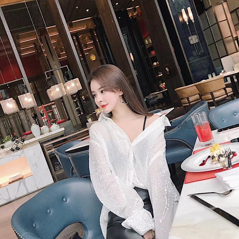 Blouse Blanc 2018 Longues Noir Vêtements white Top Piste Shirts Black À Sexy Femmes Chemise Designer Sequin Lâche Manches Partie Blusas Femelle Été qdYxpX77