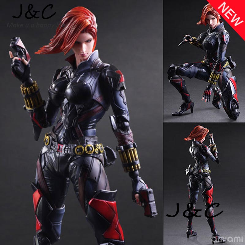 Hot Movie PLAY ARTS PA The Black Widow PVC Action Figure Doll Toys Statue Doll Toy 26cm Model Toys Kids Gift Brinquedos anime game action figure 14cm nautilus the titan of the depths pvc action figure doll brinquedos kids model toys collection gift