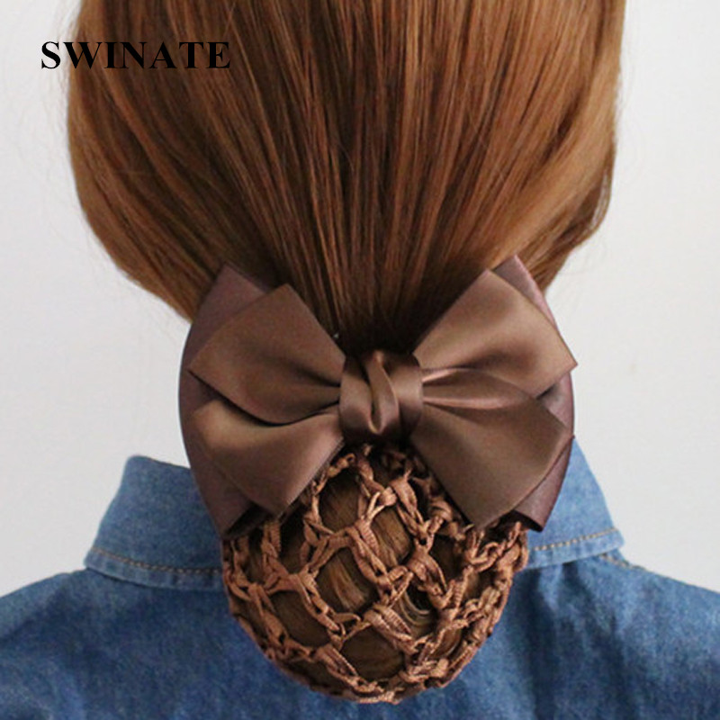 6 Colors Women Handmade Double Bow Barrtte Hair Bun Hair Clips Hair Accessories Cover Snood Net Satin Ribbon Hair Barrette