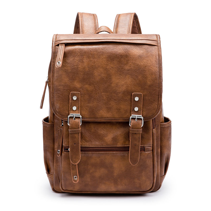 Vintage Large Capacity Men PU Leather Backpack For Travel Casual Men Daypacks Leather Travel Backpack mochila men s backpack men pu leather travel backpack casual male daypacks laptop backpack men large capacity backpacks for teenager
