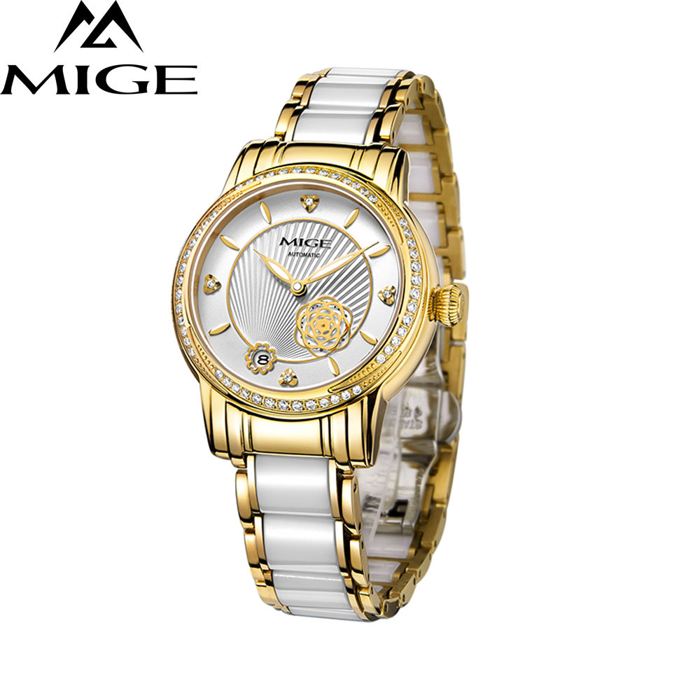 MIGE Retro Fashion Women Watches Quartz Calendar Rhinestones Ceramics Bracelet Butterfly Buckle Relogio Feminino New Arrivals