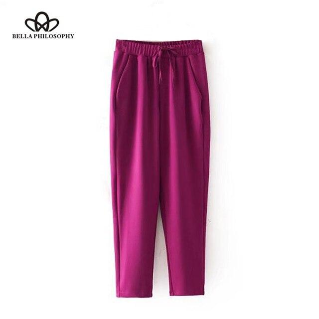 Bella Philosophy 2018 casual long pants women drawstring high waist pants female elastic waist pants for ladies basic pants