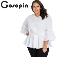 Gosopin Office Shirt Plus Size Hollow Out Casual Long Flare Sleeve Top Elegant Ladies Solid White