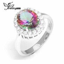 Jewelrypalace topazs 3ct genuino rainbow fuego místico anillo de compromiso anillo de bodas sólido 925 joyería de plata esterlina para las mujeres