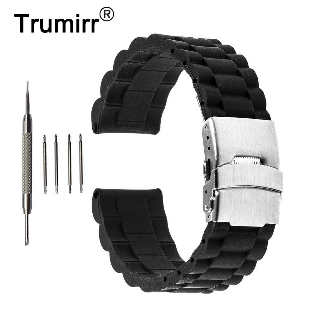 все цены на 18mm 19mm 20mm 21mm 22mm 23mm 24mm Silicone Rubber Watchband for Hamilton Stainless Steel Clasp Watch Band Strap Resin Bracelet