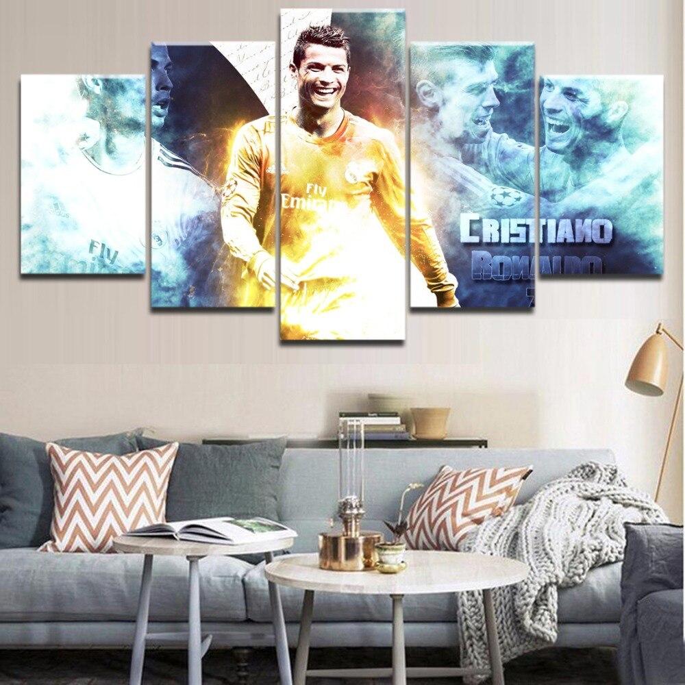 5 Pezzi Hd Stampa Quadro Sport Cristiano Ronaldo Poster Paesaggio Della Parete Di Arte Moderna Per La Complementi Arredo Casa Camera Da Letto Pittura Camera Aroma Fragrante
