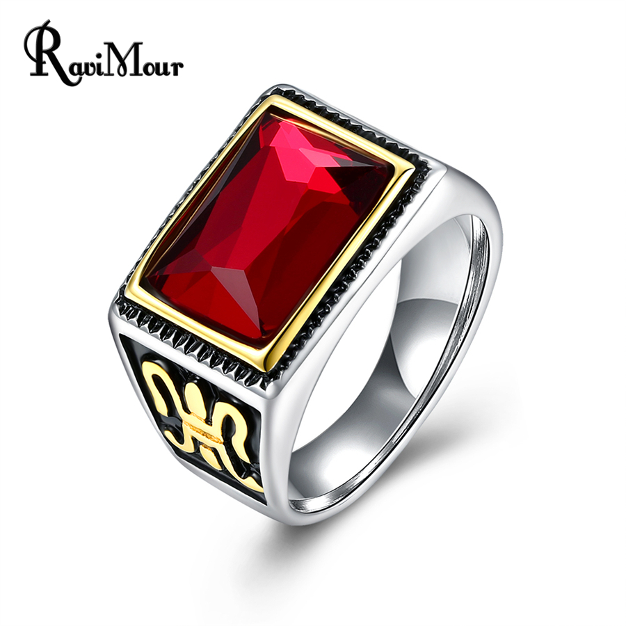 RAVIMOUR Punk Red Crysta Ring Men Jewelry Fashion Silver Color Stainless Steel Rings Wedding Engagement Vintage Anillos Hombre