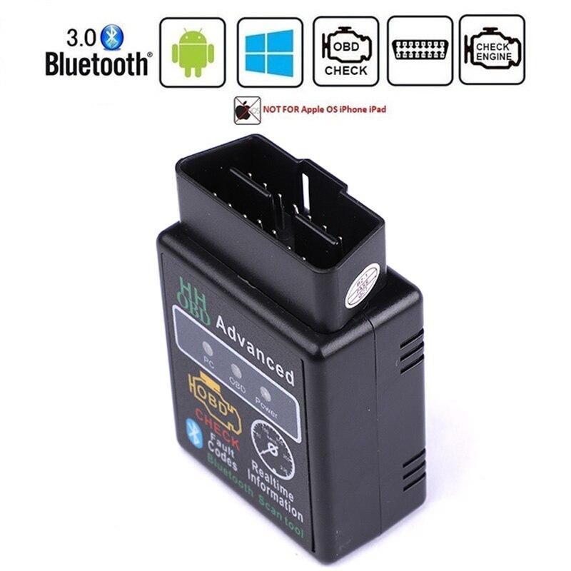 HH OBD ELM327 Bluetooth OBD2 OBDII puede autobús del motor del coche herramienta de escáner de diagnóstico para automóvil adaptador de interfaz para PC Android Super Mini Elm327 Bluetooth OBD2 V1.5 Elm 327 V 1,5 OBD 2 herramienta de diagnóstico del coche escáner Elm-327 OBDII adaptador herramienta de diagnóstico automático