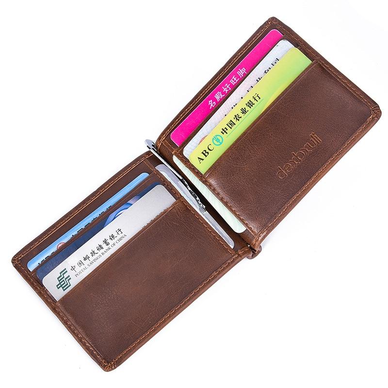 JT/_ Men/'s Fashion Genuine Leather Magnetic Money Clip Mini Bills Holder Wallet