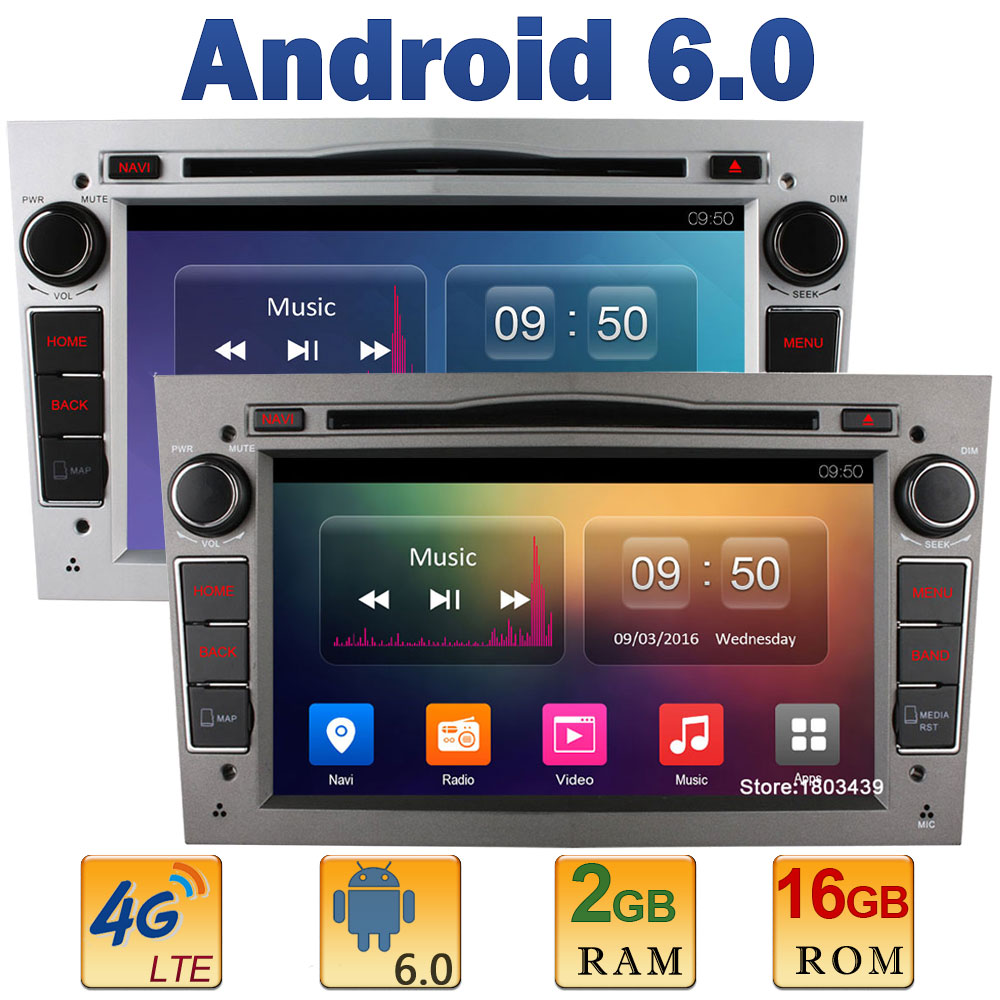 7″ Quad Core 2GB RAM+16GB ROM 4G LTE SIM WIFI Android 6.0 Car DVD Player Radio For Opel Astra H G J Vectra Antara Zafira Corsa