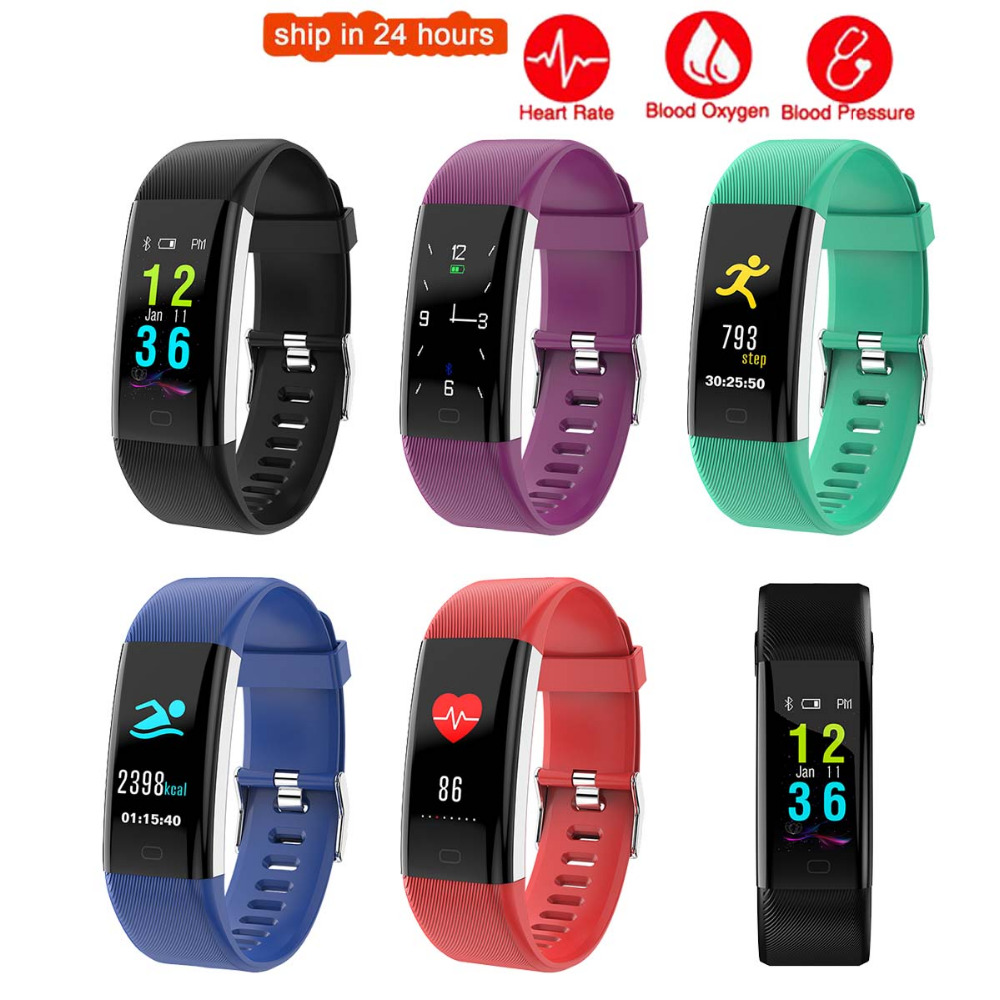 K5 Plus Color Screen Smart Wristband Sports Bracelet Heart Rate Blood Pressure Oxygen Fitness Tracker for iPhone 6S Plus 5S 5 4 plus heart