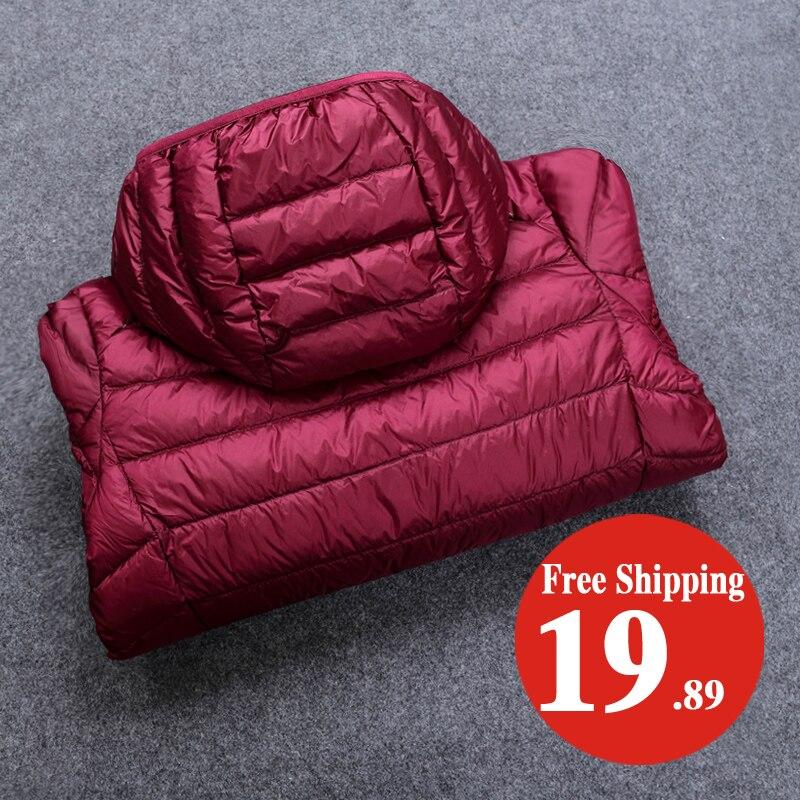 Зимние Для женщин Ультра Легкая зимняя куртка-пуховик 90% утка Подпушка куртка с капюшоном с длинным рукавом теплый тонкий пальто парка женский сплошной Portabl верхняя одежда