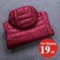 Mulheres de inverno de Ultra Jaqueta Leve Para Baixo 90% de Pato Para Baixo Com Capuz casacos Manga Comprida Quente Casaco Parka Fino Sólida Fêmea Portabl Outwear