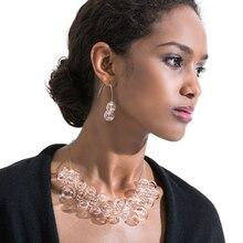 Многослойное жемчужное ожерелье и серьги в лаконичном художественном стиле, набор из колье и сережек в виде пузырьков, современные свадебные серьги с полыми бусинами для женщин