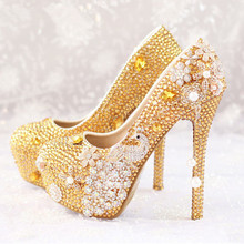 Luxury Wedding Pumps Gold Diamond Crystal Platform High heeled Pump font b Shoes b font Women