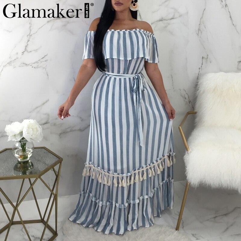 Glamaker Ruffle off shoulder striped winter dress 2018 Tassel fringe long maxi sexy dress Women loose party beach dress vestidos