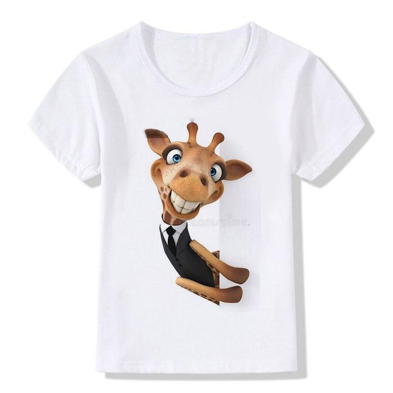 Lato Topy Dzieci Tees Cartoon Śmieszne Żyrafy Noszenie kamizelki i - Ubrania dziecięce - Zdjęcie 5