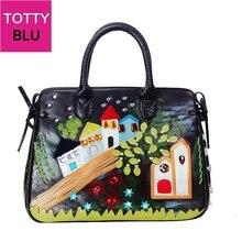 Bolsos De Mujer bolsos de cuero con parches bordados bolsos de hombro bolso de mensajero Totes Braccialini marca estilo de dibujos animados pintura al óleo