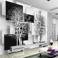 Custom High Wall Murals Wallpaper 3D Wall Picture Simple Black And White Tree 3D TV Backdrop
