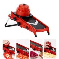 Lâmina de vegetais ajustável em v, mandolin para fatiar e cortar legumes (vermelho), 2019