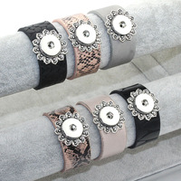 6 Color Flower Leather Bracelets Snap Button Jewelry Fit 18MM Metal Snap Button Boom Life Bohemian