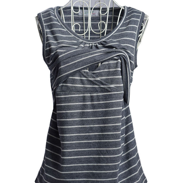 Modern Striped Maternity T-shirt for Breastfeeding Mothers