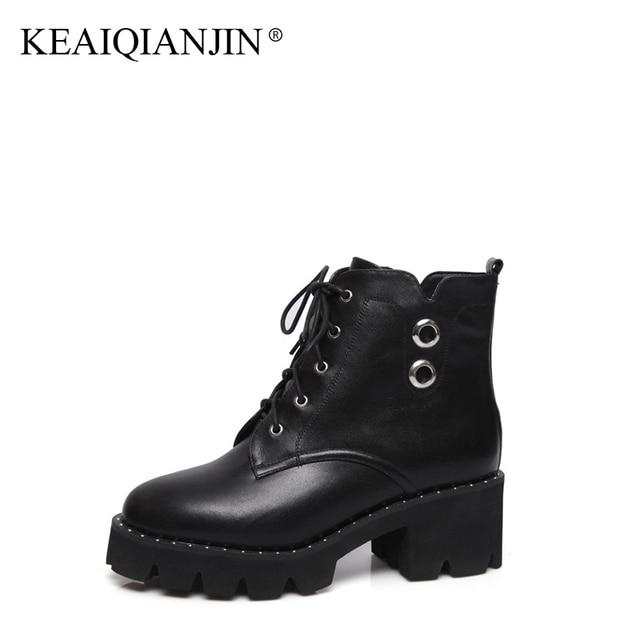 Populaire KEAIQIANJIN Femme Gothique Chaussures Noir Plat Plate Forme Haute  RW41