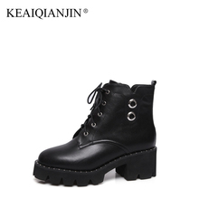 KEAIQIANJIN Woman Gothic Shoes Black Flat Platform High Heel Motorcycle Boots Plus Size 34 – 43 Genuine Leather Ankle Boots
