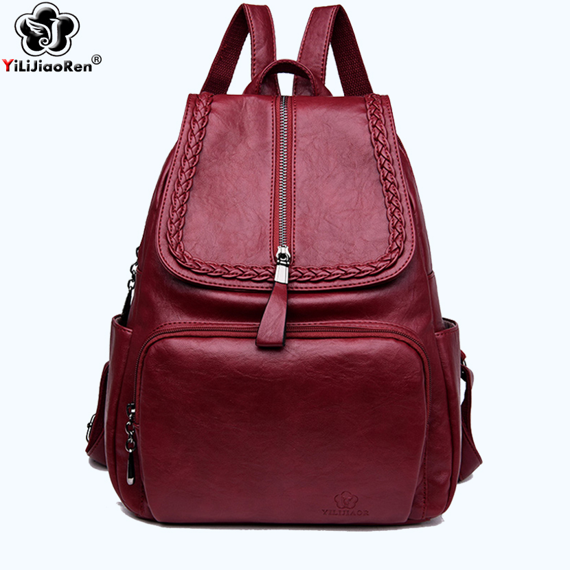 Casual Weave Female Backpack Brand Leather Women Large Capacity Bookbag Simple Travel Shoulder Bags for Mochila