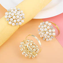 6Pcs Exquisite Pearls Diamond Napkin Ring Serviette Buckle Holder Wedding Dinner