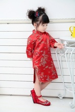 2019 Qipao Baby Girl Spring Dress Red Dragon Cheongsams Gift New Year Girls Princess Party Dresses Top Quality 2-12Y
