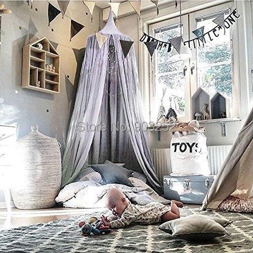 7 цветов, хлопок, для девочек и мальчиков, кровать, навес, для чтения, уголок, палатка, купол, москитная сетка, подвесное украшение, внутренний игровой домик для детей
