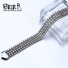 BEIER Stainless Steel Fashion Chain Bracelets For Man Women Steel colour For Pendant Pearl Buckle Donot Fade Jewelry BR-C012(China)