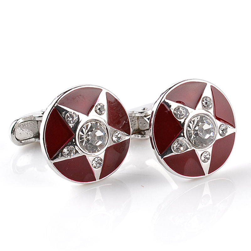 5 Star Cuffinks Man Round Crystal Star Cuflink Red Enamel Cuff Links Button Business Clear Pentagram Cuff Link For Lover Husband