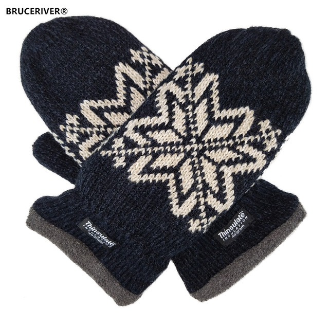 24d37f811 Bruceriver Mens Snowflake Knit Mittens with Warm Thinsulate Fleece Lining