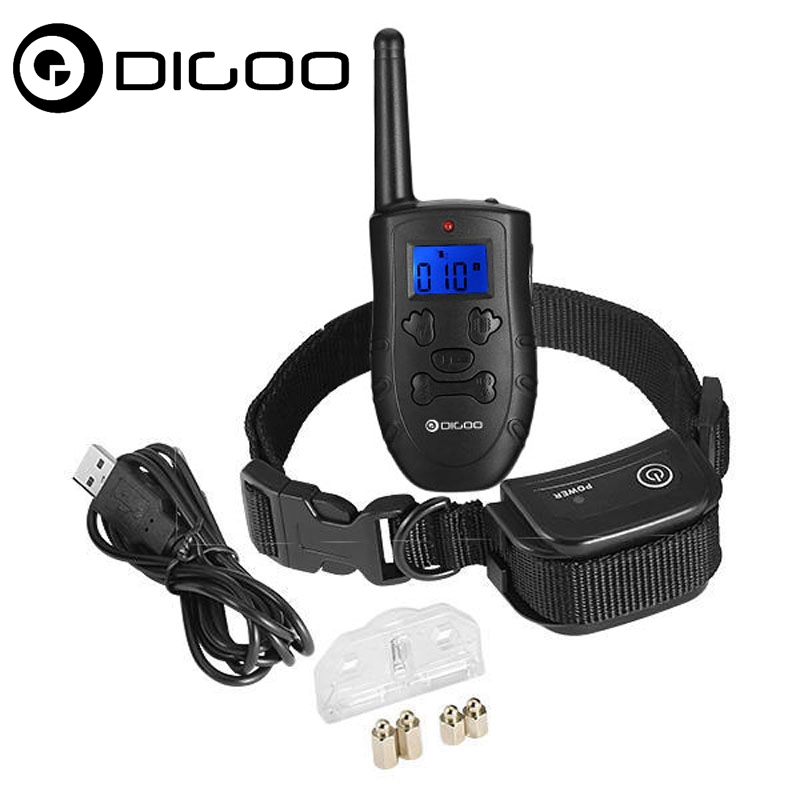 Make Pets Obedient Digoo DG-PPT1 Pet Dog Rechargeable Trainer Waterproof Stop Barking Collars Remote Dog Training Collar pet safe electronic shock vibrating dog training collar with remote control 2 x aaa 1 x 6f22 9v