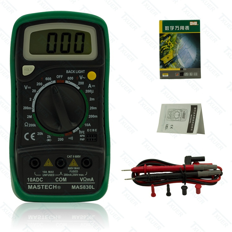 MASTECH heag MAS830L pocket-sized small digital multimeter Keep buzzer/backlight/data Hold DC Current Resistance mastech mas830l mini digital multimeter handheld lcd display dc current tester backlight data hold continuity diode hfe test