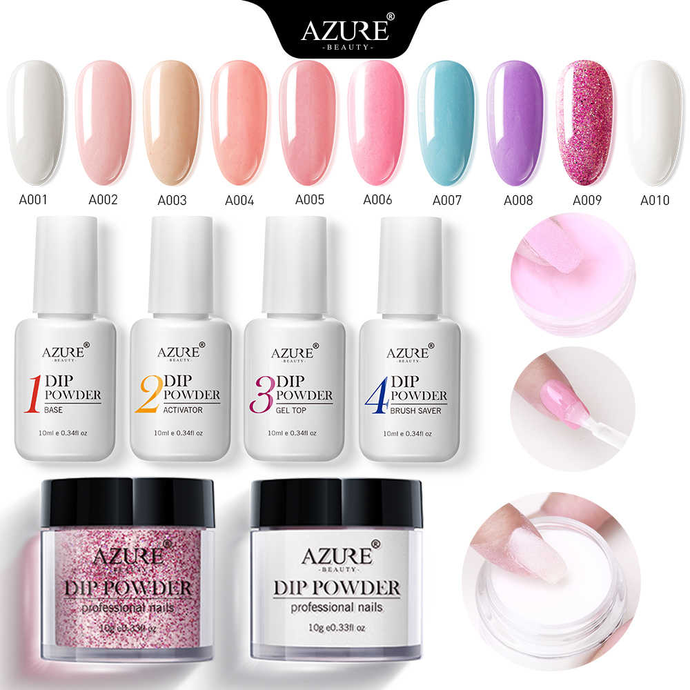 Azure Beauty New Nail Dipping Powder With Dip Base Activator Liquid Gel Nail Color Natural Dry  Without Lamp 5pcs Kit