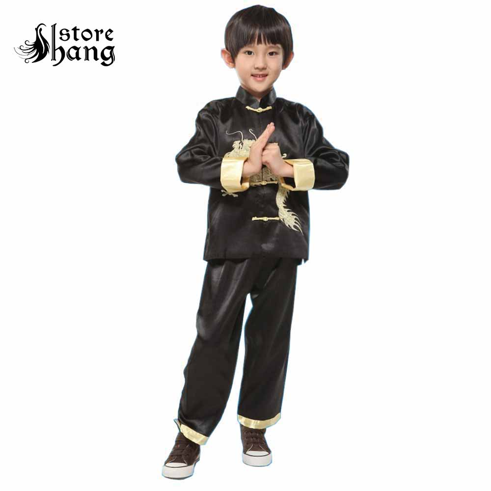 Chinese Dragon Tang Suit China Traditional Style Embroider Sets Costume Long-Sleeve Hanfu Performance Kids Kung Fu Outfit