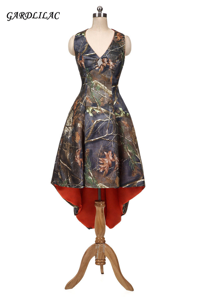 2017 New Orange Camouflage Bridesmaid Dresses Halter Camo Plus Size Hi-Lo Prom Dress Wedding Party Gown Maid of Honor