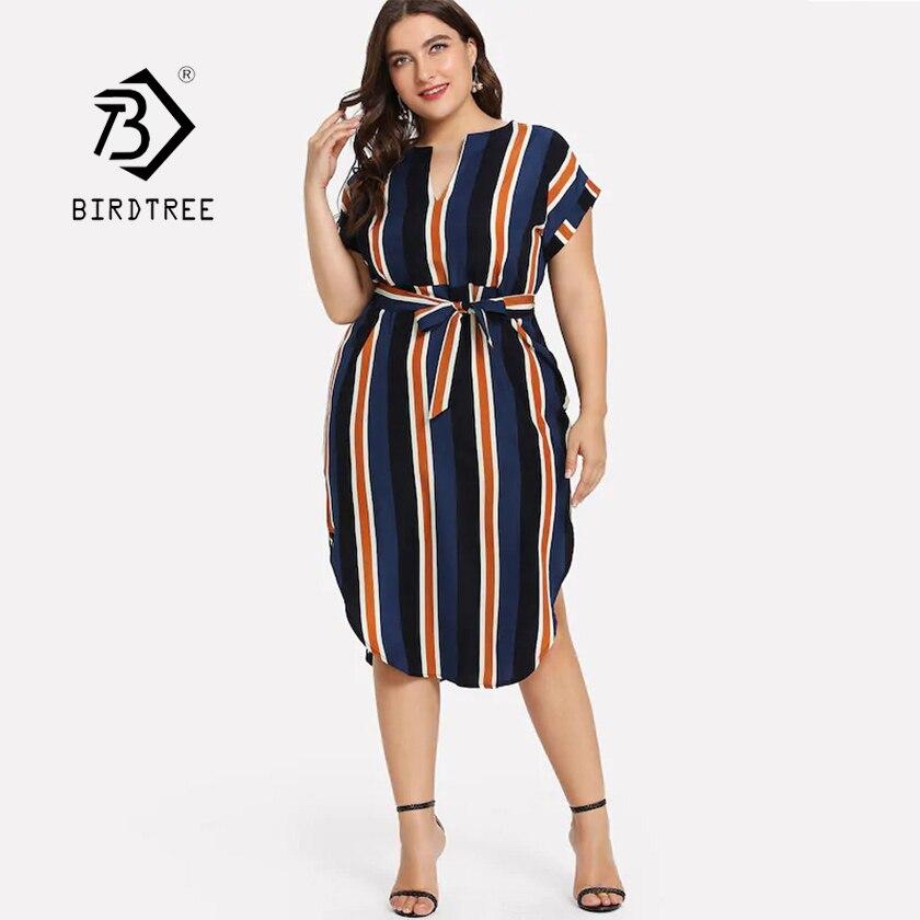 US $12.47 30% OFF|2019 Summer New Women\'s Plus Size Striped Dress With Belt  V Neck Batwing Sleeve 4XL Vestidos Print Female Modis Boho Beach Wear-in ...