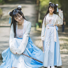 Chinese Ancient dress women's embroidery Hanfu costume Top + skirt classical stage folk dance Ancient Chinese girls' clothing