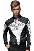 Free Shipping New Fanzhuan Male Long Sleeve Men S Fashion Personality Printing Geometric Slim Shirt Color
