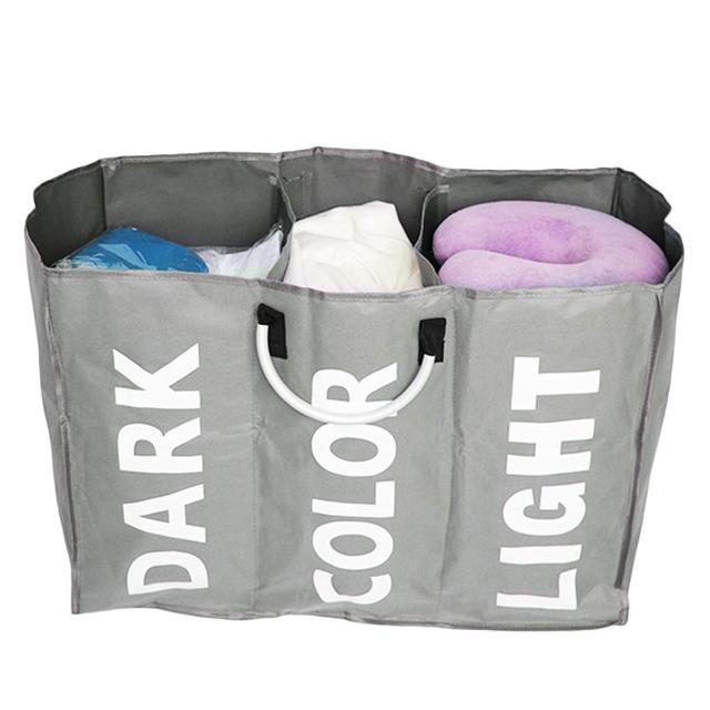 Organizer 3-Section Large Foldable Oxford Laundry Basket Bag Dirty Clothes Storage Bag Organizer With  sc 1 st  AliExpress.com & Organizer 3 Section Large Foldable Oxford Laundry Basket Bag Dirty ...